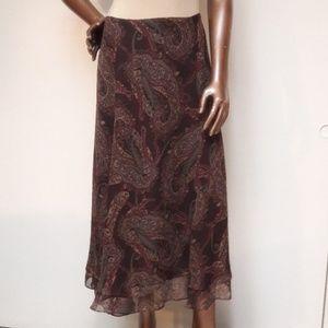 Ralph Lauren Paisley Silk Full Skirt